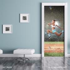 """Türtapete """"Sprung, Läuferin"""", Türposter, selbstklebend 2050 x 880 mm"""