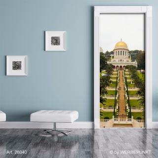 "Türtapete ""Lange Treppe bei Haifa"", Türposter, selbstklebend 2050 x 880 mm"