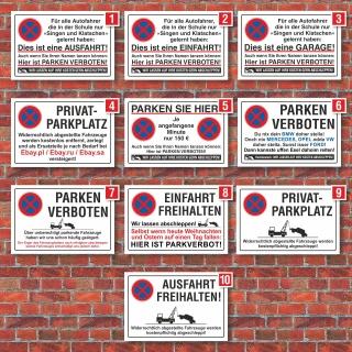 Verschiedene Parkplatzschilder, Hinweis, Verbot, 3 mm Alu-Verbund