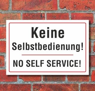 """Schild """"Keine Selbstbedienung, zweisprachig"""", 3 mm Alu-Verbund"""