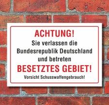 """Schild """"Achtung! Besetztes Gebiet"""", 3 mm..."""