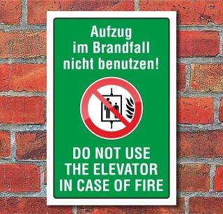 """Schild """"Aufzug nicht benutzen, zweisprachig"""", 3 mm Alu-Verbund"""