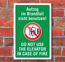 """Schild """"Aufzug nicht benutzen, zweisprachig"""", 3..."""