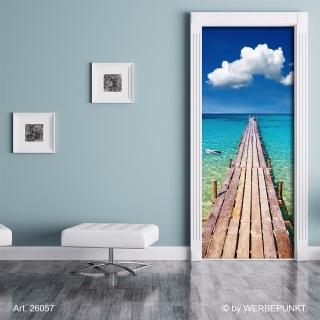 "Türtapete ""Steg übers Meer"", Türposter, selbstklebend 2050 x 880 mm"