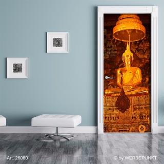 "Türtapete ""Goldene Buddha Statue"", Türposter, selbstklebend 2050 x 880 mm"
