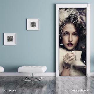 "Türtapete ""Kaffee mit Stil"", Türposter, selbstklebend 2050 x 880 mm"
