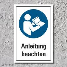"Schild ""Anleitung beachten"", DIN ISO 7010, 3 mm..."