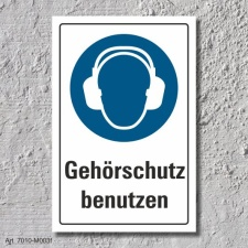 """Schild """"Gehörschutz benutzen"""", DIN ISO..."""