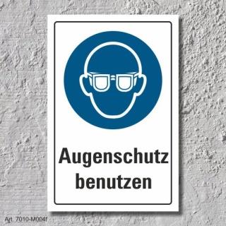 """Schild """"Augenschutz benutzen"""", DIN ISO 7010, 3 mm Alu-Verbund"""
