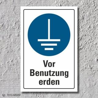 """Schild """"Vor Benutzung erden"""", DIN ISO 7010, 3 mm Alu-Verbund"""