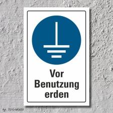 """Schild """"Vor Benutzung erden"""", DIN ISO 7010, 3..."""