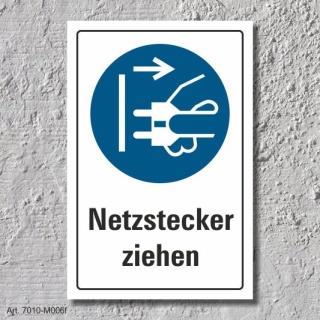 """Schild """"Netzstecker ziehen"""", DIN ISO 7010, 3 mm Alu-Verbund"""
