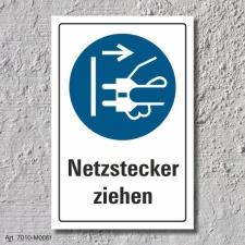 """Schild """"Netzstecker ziehen"""", DIN ISO 7010, 3 mm..."""