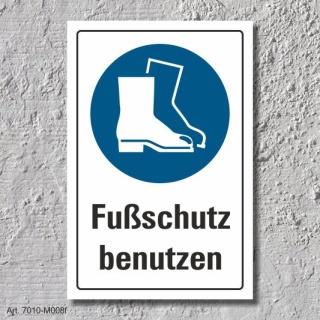 """Schild """"Fußschutz benutzen"""", DIN ISO 7010, 3 mm Alu-Verbund"""