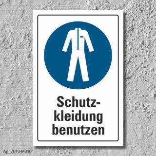 """Schild """"Schutzkleidung benutzen"""", DIN ISO 7010, 3 mm Alu-Verbund"""