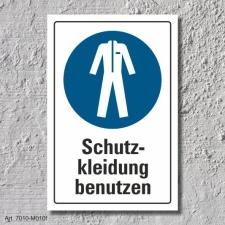 """Schild """"Schutzkleidung benutzen"""", DIN ISO 7010,..."""