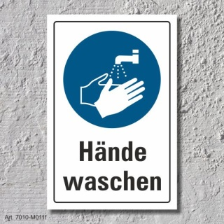 """Schild """"Hände waschen"""", DIN ISO 7010, 3 mm Alu-Verbund"""