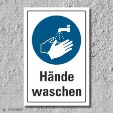 """Schild """"Hände waschen"""", DIN ISO 7010, 3 mm..."""
