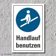 """Schild """"Handlauf benutzen"""", DIN ISO 7010, 3 mm..."""