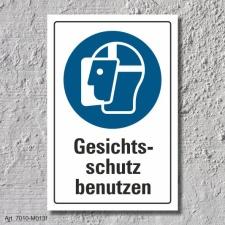 """Schild """"Gesichtsschutz benutzen"""", DIN ISO 7010,..."""