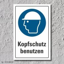 """Schild """"Kopfschutz benutzen"""", DIN ISO 7010, 3..."""