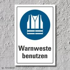 """Schild """"Warnweste benutzen"""", DIN ISO 7010, 3 mm..."""