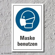 """Schild """"Mundschutz benutzen"""", DIN ISO 7010, 3..."""
