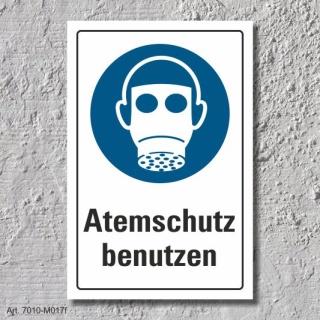 """DIN ISO 7010 Schild /""""Atemschutz benutzen/"""" 3 mm Alu-Verbund"""