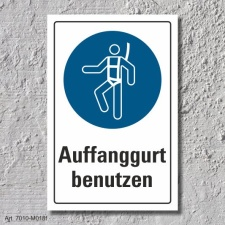 """Schild """"Auffanggurt benutzen"""", DIN ISO 7010, 3..."""