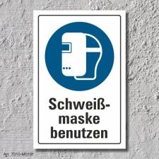 """Schild """"Schweißmaske benutzen"""", DIN ISO..."""