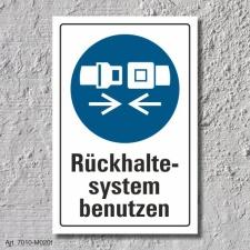 """Schild """"Rückhaltesystem benutzen"""", DIN ISO..."""