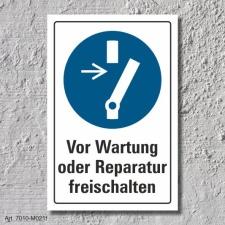 """Schild """"Wartung freischalten"""", DIN ISO 7010, 3..."""