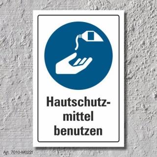 """Schild """"Hautschutzmittel benutzen"""", DIN ISO 7010, 3 mm Alu-Verbund"""
