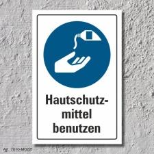 """Schild """"Hautschutzmittel benutzen"""", DIN ISO..."""