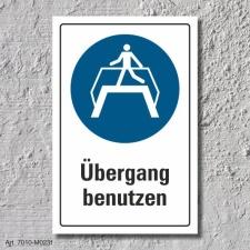 """Schild """"Übergang benutzen"""", DIN ISO 7010,..."""