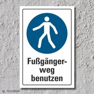 """Schild """"Fußgängerweg benutzen"""", DIN ISO 7010, 3 mm Alu-Verbund"""
