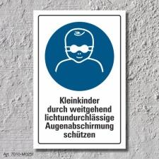 """Schild """"Kleinkinder Augenabschirmung..."""