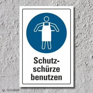 """Schild """"Schutzschürze benutzen"""", DIN ISO 7010, 3 mm Alu-Verbund"""
