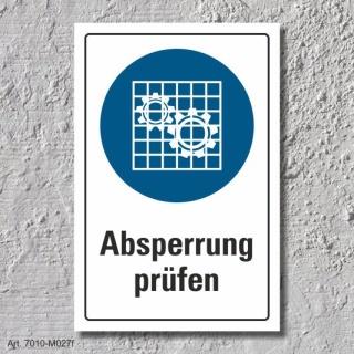 """Schild """"Absperrung benutzen"""", DIN ISO 7010, 3 mm Alu-Verbund"""