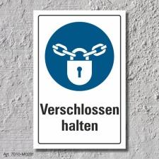 """Schild """"Verschlossen halten"""", DIN ISO 7010, 3..."""