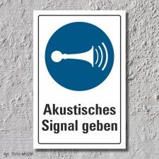 """Schild """"Akustisches Signal geben"""", DIN ISO..."""