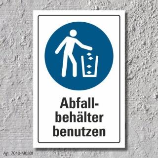 """Schild """"Abfallbehälter benutzen"""", DIN ISO 7010, 3 mm Alu-Verbund"""