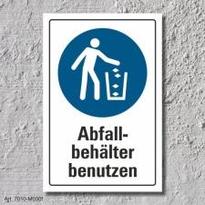 """Schild """"Abfallbehälter benutzen"""", DIN ISO..."""