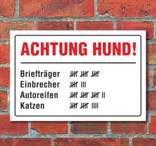 """Schild """"Achtung Hund, lustig"""", 3 mm Alu-Verbund"""