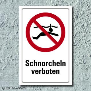 """Verbotsschild """"Schnorcheln verboten"""", DIN ISO 20712, 3 mm Alu-Verbund"""