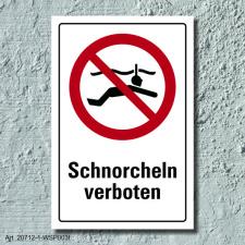 """Verbotsschild """"Schnorcheln verboten"""", DIN ISO..."""
