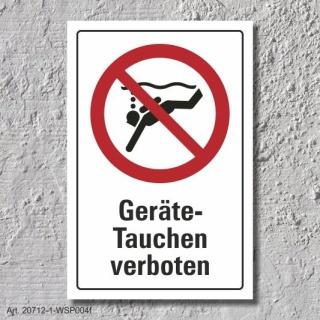 """Verbotsschild """"Geräte Tauchen verboten"""", DIN ISO 20712, 3 mm Alu-Verbund"""