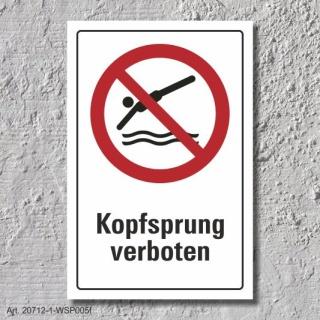 """Verbotsschild """"Kopfsprung verboten"""", DIN ISO 20712, 3 mm Alu-Verbund"""