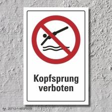 """Verbotsschild """"Kopfsprung verboten"""", DIN ISO..."""