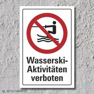 """Verbotsschild """"Wasserskiaktivitäten verboten"""", DIN ISO 20712, 3 mm Alu-Verbund"""